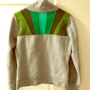 Grey lululemon sweatshirt with green stripes